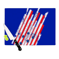 """Kess InHouse - Frederic Levy-Hadida """"Going 4ward"""" Blue Red Cutting Board (11"""" x 7.5"""") - These sturdy tempered glass cutting boards will make everything you chop look like a Dutch painting. Perfect the art of cooking with your KESS InHouse unique art cutting board. Go for patterns or painted, either way this non-skid, dishwasher safe cutting board is perfect for preparing any artistic dinner or serving. Cut, chop, serve or frame, all of these unique cutting boards are gorgeous."""