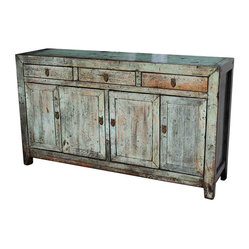 Mortise & Tenon - Natural Wood Distressed Saddlemeyer Buffet - This exquisitely distressed cabinet composed of natural wood will serve well in your dining or living room. Adorned with Asian-inspired brass handles, its four doors and three drawers equip this rustic sideboard with ample storage for your cutlery, chinaware and table linens.