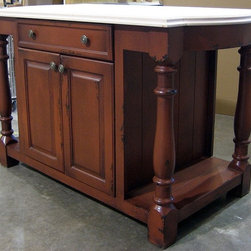 British Traditions - 5 Ft. Wide Country Kitchen Island w 1 Large Drawer & Cabinet (Wild Blueberry) - Finish: Wild Blueberry. Each finish is hand painted and actual finish color may differ from those show for this product. Country kitchen island. Maple butcher block top included. 1 Large drawer. 1 Cabinet. Bump-out on top on both short sides. Open shelf both sides. Minimal assembly required. Cabinet size: 26.75 in. W x 26 in. D x 23.5 in. H. Open shelf size: 10 in. W x 27 in. D x 25.75 in. H both sides. 60 in. W x 30 in. D x 36 in. H (245 lbs.)Similar in construction to our Hampshire Kitchen island, the Shrewsbury has a more decorative leg and adds a three-inch bump to the upper frame at each side for a more elegant look.