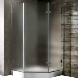 Vigo - Vigo 38 x 38 Frameless Neo-Angle 3/8in.  Frosted/Brushed Nickel Shower Enclosure - Both dramatic and space-saving, the Vigo frameless neo-angle shower enclosure creates a beautiful focal point for your bathroom.