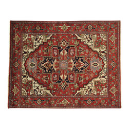 """Oriental Rug Galaxy - 8'0"""" x 10'0"""" Serapi Heriz Oriental Rug 100 Percent Wool Rust Red Handmade - Our Tribal & Geometric hand knotted rug collection, consists of classic rugs woven with geometric patterns based on traditional tribal motifs. You will find Kazak rugs and flat-woven Kilims with centuries-old classic Turkish, Persian, Caucasian and Armenian patterns. The collection also includes the antique, finely-woven Serapi Heriz, the Mamluk, Afghan, and the traditional handmade village Persian rugs."""
