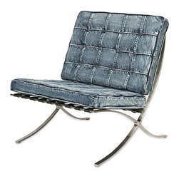 Denim Delight Single Seater - Denim has never really gone out of style, but in the '90s it was having a serious moment. Now, it's back even stronger and has moved into the furniture world. Be on the cutting-edge cusp of design with this denim chair.
