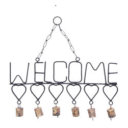 Woodland Imports - Wind Chimes with Metal Hearts Bells and Welcome Sign Patio Accent Decor 26753 - Welcome wind chimes with heart details and dangling brass bells chain link hanger porch patio garden outdoor decor