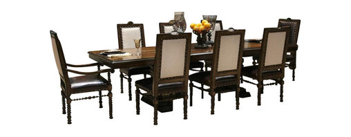 """AICO Furniture - """"Michael Amini"""" Bella Cera 9PC Capri Dining Room Set - This Dining Room Set consists of Rectangular Dining Table, Six (6) Fabric Back Side Chairs w/Leather Seats and Two (2) Leather Arm Chairs."""