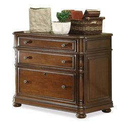 Riverside Furniture - Bristol Court Lateral File Cabinet in Cognac Cherry Finish - Center drawer with removable and adjustable dividers.