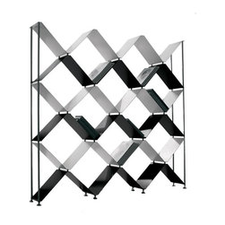 Boxter Bookcase - This chrome and lacquer bookcase grabs attention with a pattern that's X-meets-honeycomb modern.