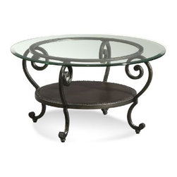 Basett Mirror - Dauphine Round Cocktail Table - The Dauphine Round Cocktail Table (Pewter Finish) has the following features: Manufactured by Bassett Mirror Part of the Dauphine Collection Made of iron and glass in a pewter finish One of our transitional-styled cocktail tables that will work in almost any living room Dimensions: 34 x 34 x 18h Weight: 53 lbs.