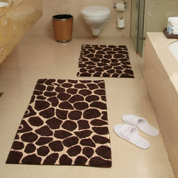 Chesapeake Merchandising - 2 Piece Giraffe Bath Rug Set - Chocolate and Beige - 26988 - Shop for Mats and Rugs from Hayneedle.com! Bring out your love of all things wild with this set. The contemporary 2 Piece Giraffe Bath Rug Set has a non-slip backing to ensure a safe step and its chocolate and beige colors are sure to complement your decor. Set includes two matching rugs. Set Dimensions: Large rug: 24 x 40 inches Small rug: 21 x 34 inches About Chesapeake Merchandising Inc. Started in Maryland in 1995 Chesapeake Merchandising Inc. remains dedicated to producing quality textiles from the finest raw materials. Purveyors of fine rugs linens pillows and bedding they strive to stay abreast on the latest trends in the industry in order to provide their customers with the most up-to-date styles for their homes. Chesapeake employs dedicated workers with a passion for quality. Their facilities are located in both India and the United States; their permanent showroom is located in New York New York.