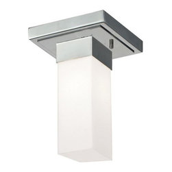 Z-Lite - Z-Lite 190F-1 Sapphire 1 Light Flushmount Ceiling Fixture - This geometrically inspired flush mount uses a rectangular matte opal shade in combination with rectangular inspired hardware to create a boldly contemporary statement.Features: