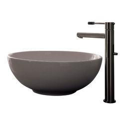 Scarabeo - Round White Ceramic Vessel Sink, No Hole - Contemporary design above counter round white ceramic sink. Stylish vessel bathroom wash basin without overflow. Made in Italy by Scarabeo.