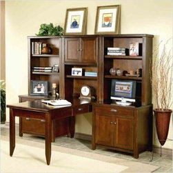Kathy Ireland Home by Martin Furniture - Tribeca Loft Cherry Modular Desk Unit - - Set Includes Writing Table, Door Base, Hutch With Doors, Two Open Hutches, Lateral File Cabinet