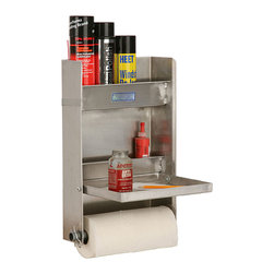 None - Small Cabinet Organizer - Find instant storage space with this small cabinet organizer,a practical place to park bottles,tools,and even a roll of paper towels. Easily mounted in a garage or trailer,this aluminum unit features a fold-down shelf for streamlined functionality.