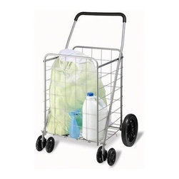 Honey Can Do - Honey-Can-Do Rolling Grocery Cart with Dual Front Wheel - You don't have to break your back or the bank with this all-purpose foldable cart. Perfect for toting groceries, laundry, cleaning supplies, or picnic gear, this cart is sizeable enough to hold all your belongings and functional enough to easily navigate curbs and steps. Front wheels rotate a full 360 degrees making for a tight turning radius. This all-purpose cart has a sturdy steel frame with rubber comfort grip handle to carry a maximum 150-pound load with ease. When not in use, it folds flat in seconds and tucks away neatly.