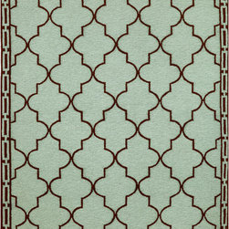 None - Large Clay Tile Outdoor Rug (7'6 x 9'6) - Hand hooked in China of intricately shaded yarns, this Clay Tile rug offers the visual appeal of a classic hook yet is durable enough to use outdoors. Fibers are UV stabilized to minimize fading and the rug can be hosed off for simple cleaning.
