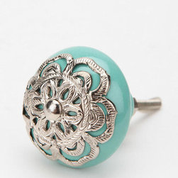 Medallion Knob, Turquoise - These may be too intricate and gorgeous for my kitchen (sigh), but I love these knobs. And they come in red, too.