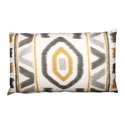Designer Fluff - Yellow Ikat Pillow, 18x18 - This handmade pillow sports a striking ikat motif in shades of saffron and gray. The design adorns both sides and is matched at the seams, so the pattern is continuous. A concealed zipper keeps the feather/down insert in place, so nothing detracts from the fabric's graphic appeal.