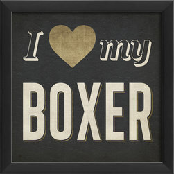 The Artwork Factory - 'I Heart My Boxer' Print - Flaunt your affection for breed. This museum quality print on high resolution ,acid-free paper makes a stylish statement in your decor.