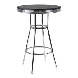 "Winsome - Winsome Summit 30"" Round Pub Table in Black/Metal Finish - Winsome - Pub Tables - 93030"