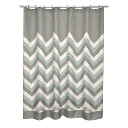 None - Brightly Chevron Microfiber Shower Curtain - Add pattern and color to you modern bathroom with the brightly chevron shower curtain in a soft aqua,grey and white finish. This 100-percent polyester shower curtain is machine washable for easy care and repeated use.