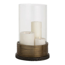 Arteriors - Winston Hurricane - Arrange a selection of candles or one stately pillar in this handsome hurricane. Its ringed iron bottom makes a stately stage for the glass lantern — a wonderful way to bring warm light to your favorite setting.