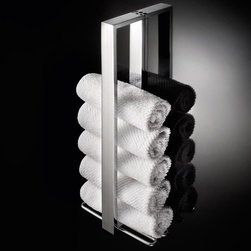 WS Bath Collections - Skuara Vertical Towel Holder in Polished Chro - Made by Lineabeta of Italy. Product Material: Brass. Finish/Color: Polished Chrome. Dimensions: 15.8 in. W x 2.8 in. L