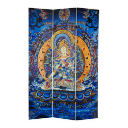 Oriental Furniture - 6 ft. Tall Radiant Tara Tibetan Double Sided Canvas Room Divider - This room divider displays Tara, the mother of liberation, an important female Bodhisattva in Tibetan Buddhism. A popular legend states that when a group of male monks told Tara to pray for reincarnation as a man so she could better reach enlightenment, she rebuked them and swore instead to always be reborn as a woman, achieve Buddhahood, and continue to return to earth to show others the way. This stunning painting of Tara, radiating spiritual energy from her head and her heart, is printed on high quality canvas on both sides of this folding screen. This colorful room divider is beautiful, meaningful, and perfect for a home, meditation center, or yoga studio.