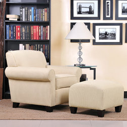 PORTFOLIO - Portfolio Mira Sand Stripe Transitional Arm Chair and Ottoman - The transitional Mira rounded arm chair and ottoman are part of the Portfolio Collection. The Mira chair and ottoman are covered in a stylish cream and sand stripe fabric.