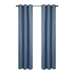 Commonwealth Home Fashions - Thermalogic? Blue 160 x 84-Inch Weathermate Grommet Top Two Panel Pair - - A solid color insulated Cotton duck fabric  - Twelve Antique Brass metal grommets per panel  - 1-inch side hems and 3-inch bottom hem  - Pocket Construction: Grommet top  - Additional Necessary Hardware: Decorative Rod  - Laundry Instruction: Washable  - Lining Fabric: 100% Acrylic Suede Commonwealth Home Fashions - 70370188160084601