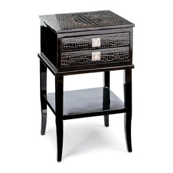 Kathy Kuo Home - Irwin Hollywood Regency Brown Faux Crocodile Lacquer Wood Nightstand - Wild and whimsical, this nightstand blends Hollywood Regency and Rustic Lodge styles. Rich, brown faux crocodile covers the square tabletop. Two small drawers with silver handles hold your nightly necessities. Four polished, lacquered legs create a beautiful base for this handsome table, at home in any bedroom.
