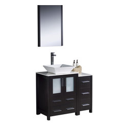 """Fresca - 36"""" Espresso Vanity w/ Side Cabinet & Vessel Sink Soana Brushed Nickel Faucet - Fresca is pleased to usher in a new age of customization with the introduction of its Torino line.  The frosted glass panels of the doors balance out the sleek and modern lines of Torino, making it fit perfectly in eithertown or country decor."""
