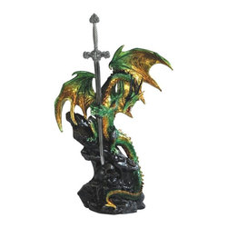 GSC - 14.75in Green Dragon Standing Over Skull with Sword - This gorgeous 14.75in Green Dragon Standing Over Skull with Sword has the finest details and highest quality you will find anywhere! 14.75in Green Dragon Standing Over Skull with Sword is truly remarkable.