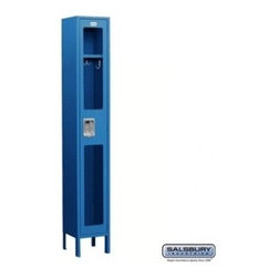 Salsbury Industries - See-Through Metal Locker - Single Tier - 1 Wide - 6 Feet High - 12 Inches Deep - See-Through Metal Locker - Single Tier - 1 Wide - 6 Feet High - 12 Inches Deep - Blue - Assembled