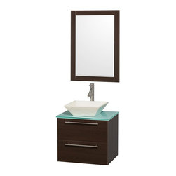 Wyndham Collection - 24 in. Bathroom Storage Vanity Set - Includes mirror, bone porcelain sink, drain assemblies and P-traps for easy assembly. Faucet not included. Green glass counter top. Eight stage preparation, veneering and finishing process. Unique and striking contemporary style. Modern, truly elegant wall mount design and clean lines. Single-hole faucet mount. Beautiful wood grain exteriors. Modern brushed chrome door pulls. Deep doweled drawer soft close door hinges and drawer glides. Fully-extending soft-close drawer slides. Two functional drawers. Full complement of storage areas behind sturdy soft-close doors and drawers. Plenty of storage space. Perfect for small bathrooms and powder rooms. Engineered for durability and to prevent warping last a lifetime. 0.75 in. glass thickness. Highly water-resistant low V.O.C. sealed finish. Metal exterior hardware with brushed chrome finish. Warranty: Two years. Made from beautiful veneers over highest quality grade E1 MDF. Espresso finish. Minimal assembly required. Counter weight: 31 lbs.. Sink weight: 50 lbs.. Mirror: 23.75 in. W x 33 in. H (17 lbs.). Vanity: 24 in. W x 19.5 in. D x 20.75 in. H (55 lbs.). Handling Instructions. Vanity Installation Instruction. Mirror InstallationAesthetic meet affordability in the Wyndham Collection Amare Vanity. you'll never hear a noisy door again! This versatile vanity family is available with distinctive vessel sinks or sleek integrated counter and sinks to fulfill your design dreams. A wall-mounted vanity leaves space in your bathroom for you to relax. The simple lines of the Amare wall-mounted vanity family are no-fuss and all style.