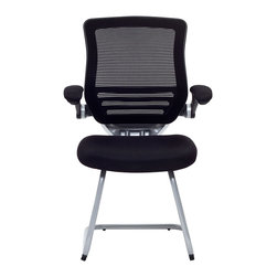 """LexMod - Edge Reception Chair in Black - Edge Reception Chair in Black - Welcome to a new era in functional comfort. This guest version of the best-selling Expedition chair combines some of the best features of the original with an inviting sled mount. If you are outfitting a waiting or reception room, and want to impart a great first impression, youll want to think seriously about the Expedition. The mesh fabric seat is finely upholstered and padded for comfort. Other highlights include armrests that easily flip up for easy entry and exit, and a mesh seat back with natural lower lumbar support. Dont settle for less when it comes to the presentation and decor of your office. Set Includes: One - Edge Guest Chair sled base Modern Mesh Fabric, Ergonomic Design, High Density Foam Overall Product Dimensions: 24""""L x 25.5""""W x 38.5""""H Seat Height: 18""""H Armrest Height: 27""""HBACKrest Height: 18""""H - Mid Century Modern Furniture."""