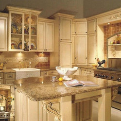 Antiqued White Painted Cabinets - Raised panel cabinet doors painted Antique White with added ...