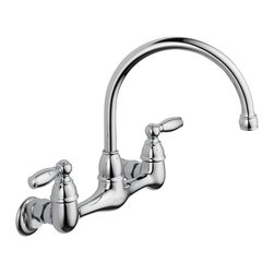 Delta Two Handle Wall Mounted Kitchen Faucet - P299305LF - With the full line of Delta(R) kitchen faucets, it's easy to find just the right touch for your kitchen.