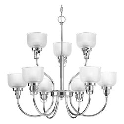 Progress Lighting - Progress Lighting P4690-15 Archie 9-Light Two-Tier Polished Chrome Chandelier Cl - Archie Collection nine-light, two-tier chandelier is a standout in any room! Provide a fun and fashionable way to light your home with finely crafted strap and knob details, clear double prismatic glass, and plated Polished Chrome finish.The authentic, prismatic style glass shade diffuses light to provide functional and stylish illumination. Available coordinating fixtures in this collection include wall and ceiling styles.