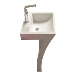 ADM - ADM White Solid Surface Stone Resin Pedestal Sink, Glossy - DW-109