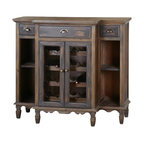 Uttermost - Uttermost Suzette Wood Wine Cabinet - Suzette Wood Wine Cabinet by Uttermost Beautifully Crafted From Reclaimed Fir Wood, This Breakfront Console Features Dovetail Drawers, Antiqued Brass Hardware And Wine Bottle Storage Visible Through Wire Mesh Door Fronts. Lightly Stained With A Smoky Gray Wash.