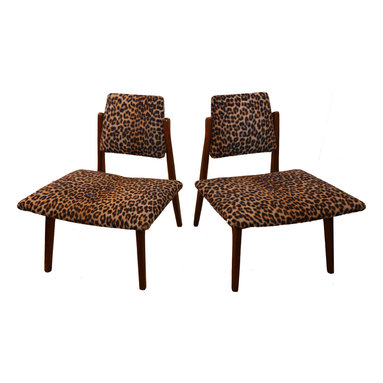 Mid century Modern, Vintage - Consigned Chairs - Danish Modern/Vintage/Mid Century Leopard Fabric and Wood - Offered here is the coolest Danish Modern Mid Century Scandinavian designed pair of the most fabulous chairs!