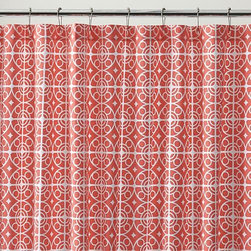 Taza Coral Shower Curtain - White medallions trellis on coral in a Moroccan-inspired pattern printed on sturdy cotton.