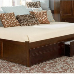 Atlantic Furniture - Concord Daybed - ATF307 - Shop for Daybeds from Hayneedle.com! Presenting a new take on an old standard: The Concord Daybed is a contemporary platform bed with a clean backless design and low-profile stance. The Concord can coordinate and adapt to any room. Set it up as a daybed in your guest room or as a more traditional platform bed for personal use. Add under-bed drawers with flat panel fronts for additional storage. Crafted from eco-friendly hardwood and perfected with a high-build five-step finishing process this easy-breezy daybed is an ideal addition to any bedroom or modern apartment setting. An innovative hook-and-pin system creates a strong long-lasting connection between the headboard and footboard. Two metal pins are embedded within the head and foot of the bed frame (or optional footboards) at two positions making it easy to switch from upper height to lower height. Set the bed high for use with bed storage or set it low for use with just a mattress. No box spring is required. Recessed panel footboards are included with the storage drawer option only. Bed Dimensions: Twin: 78.87L x 42.12W x 16.5H inchesFull: 78.87L x 56.37W x 16.5H inchesQueen: 84.5L x 63.12 x 16.5H inchesAbout Atlantic FurnitureFounded in 1983 as Watercraft Inc. Atlantic Furniture started as a manufacturer of pine waterbed frames. Since then the Springfield Mass.-based company has expanded to Fontana Calif. The company has moved away from the use of pine and now specializes in imported furniture made of the wood of rubber trees.The Benefits of Eco-Friendly RubberwoodPrized as an environmentally friendly wood rubberwood makes use of trees that have been cut down at the end of their latex-producing life cycle. The trees are removed by hand and replaced with new seedlings. In the past felled rubber trees were either burned on the spot or used as fuel for locomotive engines brick firing or latex curing. Now the wood is used in the manufacture of high-end furniture. It 