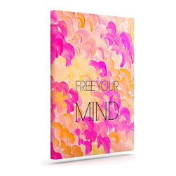"""Kess InHouse - Ebi Emporium """"Free Your Mind Pink"""" Pink Orange Wrapped Art Canvas (20"""" x 16"""") - Bring your outdoor patio to life with this artistic outdoor canvas wrap featuring gorgeous artwork by KESS InHouse. These canvases are not only easy to hang and remove but also are the perfect addition to your patio collection. These canvases are stretched around a wooden frame and are built to withstand the elements and still look artistically fabulous. Decorating your patio and walls with these prints will add the splash of art and color that is needed to bring your patio collection together! With so many size options and artwork to choose from, there is no way to go wrong with these KESS Canvas Wraps!"""