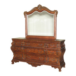 MBW Furniture - 6Ft Wide Mahogany French Bombe  9 Drawer Vanity Chest Dresser w/ Mirror - This product is finely constructed from top grade kiln-dried solid wood and select hardwood veneers. Its superb quality will add a touch of elegance to your home.