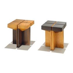Rotsen + Stool in Peroba and Brauna Wood - Contemporary wood stool made with a combination of reclaimed woods in their natural colors. The Braúna wood, which is naturally dark, is used for the seat, while the light colored Peroba wood is used for the base.