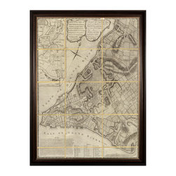 Kathy Kuo Home - Antique Folded New York Map Large Wall Art - Framed - The City That Never Sleeps was once a quiet little island settlement, as this antique map stylishly shows. With the folds outlined by a gold grid, this vintage map makes a stunning wall piece for any room in your house or work space. This modern reproduction is available framed or unframed.