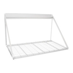 Martha Stewart Living - Martha Stewart Living™ Garage Storage Rack - Our sturdy Martha Stewart Living™ Garage Storage Rack can support up to 300 lbs. This hanging storage rack is wall mounted—no need to struggle with overhead mounting. Designed to be hung from a Martha Stewart Living™ Garage Wall Panel, sold separately, this heavy duty storage rack can also be mounted to an existing wall. Brackets for both mounts are included. Corrosion-resistant baked paint with hammered finish. Holds up to 300 lbs. Includes mounting brackets.
