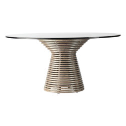 McGuire Furniture - McGuire Designs Minna Table: JST514 - The Minna Table features an hourglass form of stacked rattan coils, held together by rawhide x-bindings. An updated take on a classic McGuire material and shape. Both structural and graphic, this table makes a statement no matter where it lives. Finished in Roja, Fog or Dark Tobacco. Various glass top sizes available.