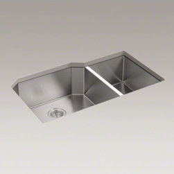 "KOHLER - KOHLER Strive(TM) 35-1/2"" x 20-1/4"" x 9-5/16"" under-mount extra-large/medium dou - This Strive kitchen sink offers professional style with easy-to-clean curved corners.�Made of thick, premium quality 16-gauge stainless steel, the unique extra-large offset bowls maximize cabinet space, making room for your largest bakeware and cookware."