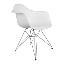 "Eiffel Arm Chair in White - Some designs were ahead of their time. Considered the chair of tomorrow for both its design and its innovative single-mold manufacturing process, one of the most iconic mid-century furniture designs inspired the Eiffel Arm Chair. Created in the spirit of economy and affordability, its unique shape spreads the sitter's weight and pressure evenly. The deep seat and waterfall edge provide additional comfort as the design shapes itself around the body's curves, while the chrome eiffel-style base adds visual interest and stability. If you've done away with formality in your home, the Eiffel Arm Chair is that one piece of furniture that exemplifies the ""less is more"" ethos. It's the ultimate seat that goes well in a variety of different settings: as a home office chair, an entryway slipper seat, or that one statement piece in the living room."
